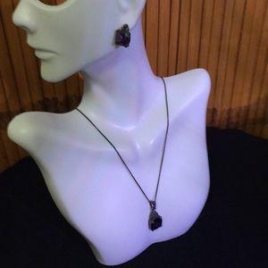 Purple Marcasite Necklace & Earrings Set